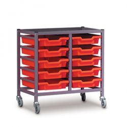 Double Column Trolley with Trays - 725mm high