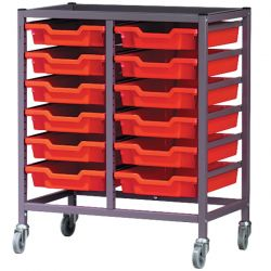 Double Column Trolley with Trays - 850mm high
