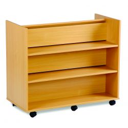 Library Unit with 3 Angled Shelves 1 Side, and 3 Horizontal Shelves on the Other
