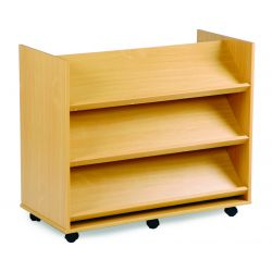 Library Unit with 3 Angled Shelves Each Side