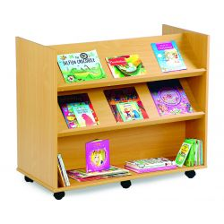 Library Unit with 2 Angled and 1 Horizontal Shelf Each Sides