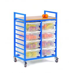 Fruit Trolley with 8 Deep Trays and Lids