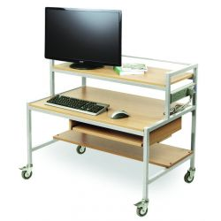 Two Tiered Trolley Tiered Computer Trolley