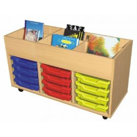 12 Tray Book Trolley with 4 Book Wells