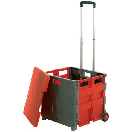 Collapsible Plastic Folding Box Trolley With Lid Teacher
