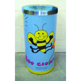 Open Top Midi Litter Bin with Stainless Steel  Lid and Personalised Graphics