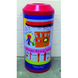 Open Top Midi Litter Bin with Aperture in Lid and Personalised Graphics