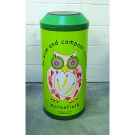 Flip Top Midi Litter Bin with Black Lid and Personalised Graphics