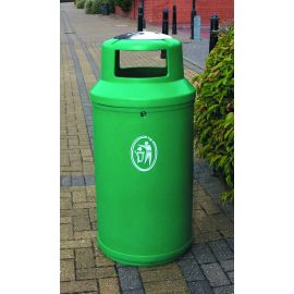 Universal Litter Bin with Stainless Steel Domed Ashtray and Personalised Graphics