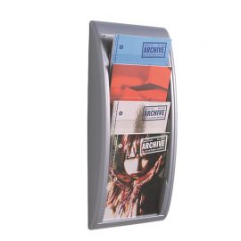 Fast Paper Quick Fit Wall Display A4 Silver 4 pockets