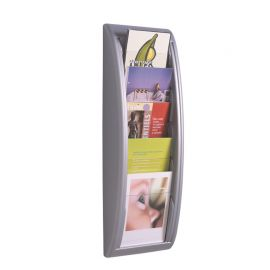 Fast Paper Quick Fit Wall Display A5 Silver 5 pockets