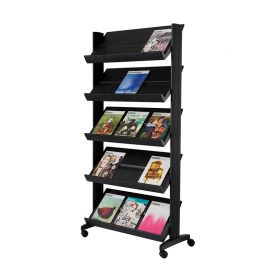 Fast Paper Mobile Literature Display Wide Black 5 Shelves