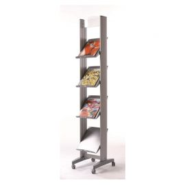 Fast Paper Mobile Literature Display Aluminium 4 Shelves