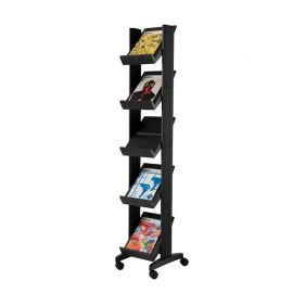 Fast Paper Mobile Literature Display Corner Black 5 shelves