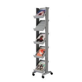 Fast Paper Mobile Literature Display Corner Silver 5 Shelves