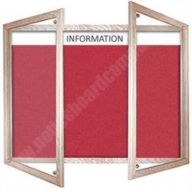 Solid Wood Framed Lockable Cara Board with Header - Oak Frame