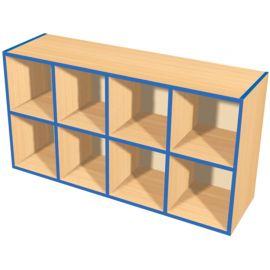 KubbyKurve Wide Two Tier 4+4 Open Shelf Unit
