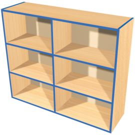 KubbyKurve Wide Three Tier 2+2+2 Open Shelf Unit