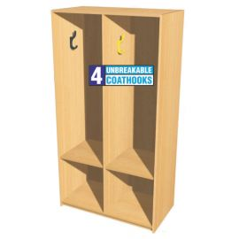 Open Static Double Bay Cloakroom Station - 1m High