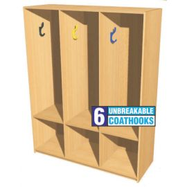 Open Static Triple Bay Cloakroom Station - 1m High