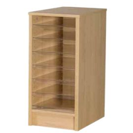 7 Space Single Bay Pigeonhole Unit in Beech