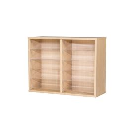 10 Space Double Bay Wall Mounted Pigeonhole Unit in Beech