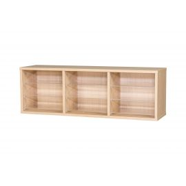 9 Space Triple Bay Wall Mounted Pigeonhole Unit in Beech
