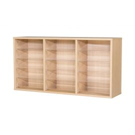 15 Space Triple Bay Wall Mounted Pigeonhole Unit in Beech