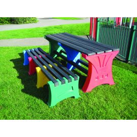 Multicoloured Table & Bench Set - 6 Person